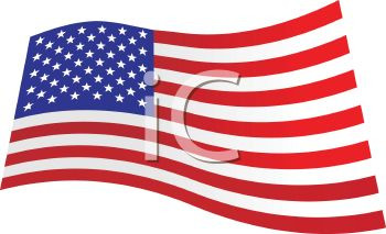 picture of an American Flag waving in a vector clip art illustration