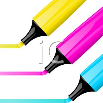 picture of three different colors markers drawing a line in a vector clip art illustration