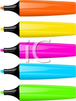 picture of colorful felt pens in a row in a vector clip art illustration