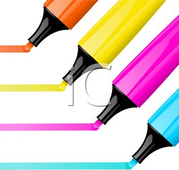 picture of four colorful felt markers drawing a line in a vector clip art illustration