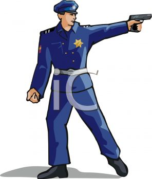 picture of a policeman pointing his gun in a vector clip art illustration
