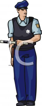 picture of a policeman wearing a bullet proof vest, holding a club in a vector clip art illustration