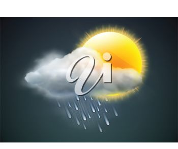 picture of a sun with a raincloud cloud in a vector clip art illustration