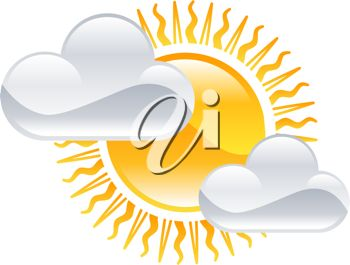 picture of clouds in front a bright sunshine in a vector clip art illustration