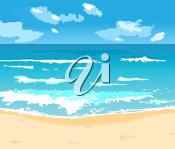 picture of the ocean surrounded by clouds in a vector clip art illustration