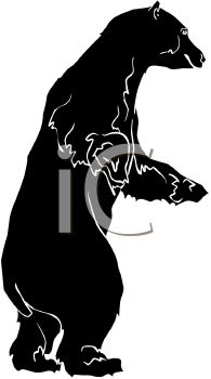 picture of a bear on his hind legs in a vector clip art illustration