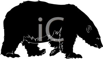 picture of a bear walking in a vector clip art illustration