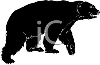 picture of a large black bear in a vector clip art illustration