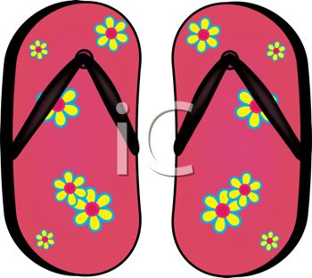 picture of a pair of flip flop sandals with a flower pattern in a vector clip art illustration