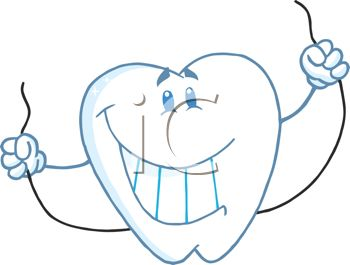 picture of a cartoon smiling toothe holding dental floss in a vector clip art illustration