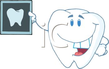 picture of a smiling tooth holding up a tooth xray in a vector clip art illustration