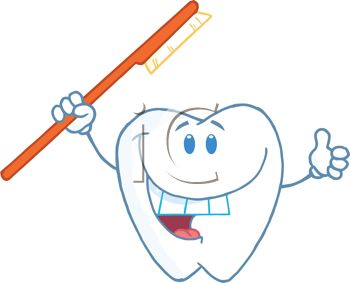 picture of a smiling tooth cartoon holding a toothbrush in  a vector clip art illustration