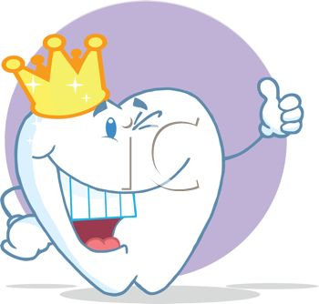 picture of a smiling happy cartoon tooth wearing a crown in a vector clip art illustration