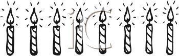art illustration of a row of lit birthday candles in a vector clip art ...