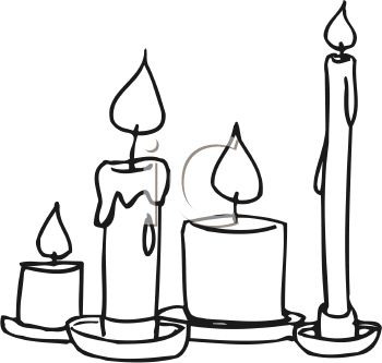 picture of assorted sizes of burning, melting candles in a vector clip art illustration