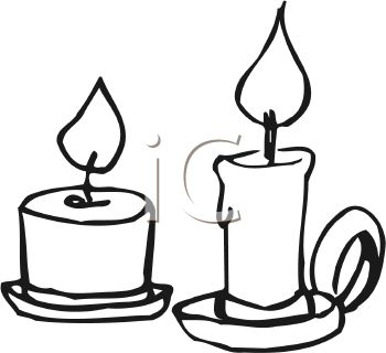 picture of two different sized burning candles in a vector clip art illustration