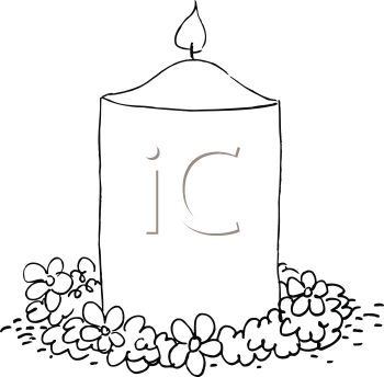 picture of a burning candle surrounded by flowers in a vector clip art illustration