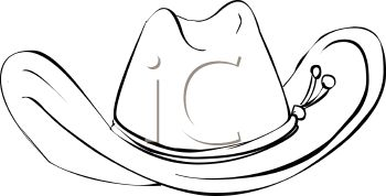 Picture of an Outline of a Cowboy Hat In a Vector Clip Art