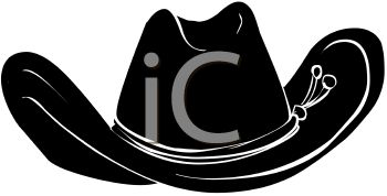 picture of a silhouette of a cowboy hat in a vector clip art illustration
