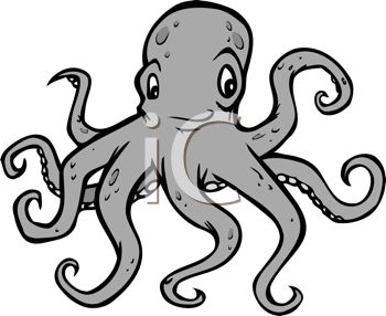 picture of an octopus with a funny face in a vector clip art illustration