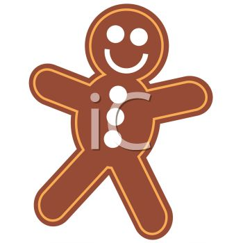 picture of a gingerbread man smiling in a vector clip art illustration