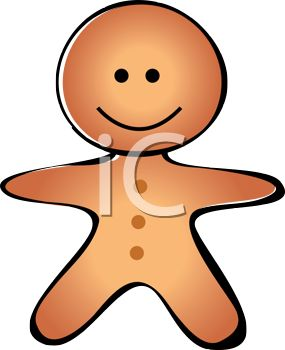 picture of a cartoon gingerbread man in a vector clip art illustration
