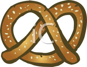picture of a salted pretzel in a vector clip art illustration
