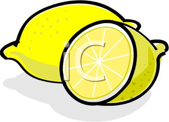 picture of a whole lemon, and a half cut lemon in a vector clip art illustration