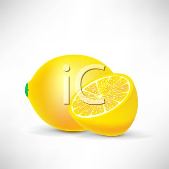 picture of a whole fresh lemon, and a half of a fresh lemon in a vector clip art illustration