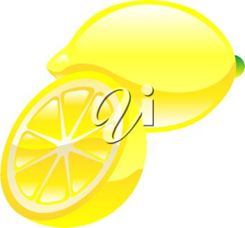 picture of a fresh whole lemon, and half of a lemon in a vector clip art illustration
