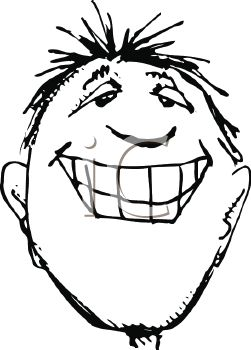 picture of a man's face with a very big smile in a vector clip art illustration