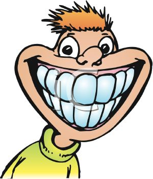 picture of a boy with a giant smile showing his teeth in a vector clip art illustration