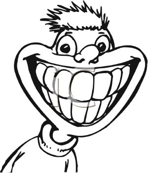 picture of a boy with a huge smile showing his teeth in black and white in a vector clip art illustration