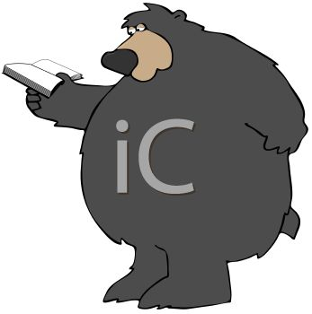 picture of a big bear reading a book in a vector clip art illustration