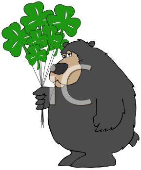 picture of a bear holding shamrock balloons in a vector clip art illustration