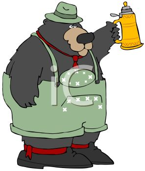 picture of a bear wearing overalls and holding a jug of beer in a vector clip art illustration