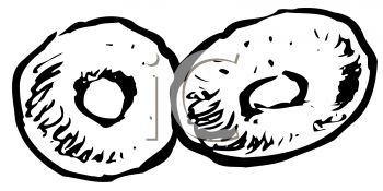 picture of 2 donuts in black and white in a vector clip art illustration