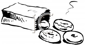 picture of a bag of donuts. The bag is toppled over in a vector clip art illustration