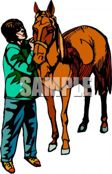 picture of a boy grooming his horse in a vector clip art illustration