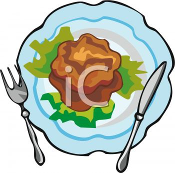 picture of meat and lettuce on a plate with a fork and knife in a vector clip art illustration