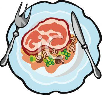 picture of a piece of ham with peas and mushrooms on a plate in a vector clip art illustration