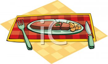 picture of a piece of meat and potatoes on a checkered placemat with a fork and knife in a vector clip art illustration