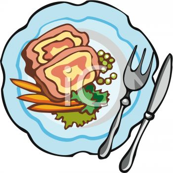 picture of ham, peas, and carrots with a fork and knife in a vector clip art illustration