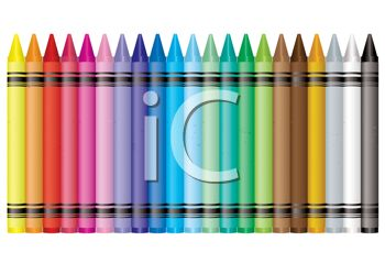 Picture of a long row of colorful crayons in a vector clip art illustration