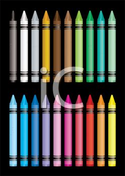 picture of colorful crayons on a black background in a vector clip art illustration