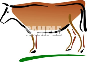 picture of a cow standing in grass in a vector clip art illustration