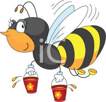 Picture of a honey bee carrying buckets of honey in a vector clip art illustration