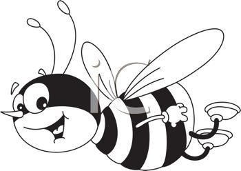 picture of a honeybee flying through the air smiling in a vector clip art illustration
