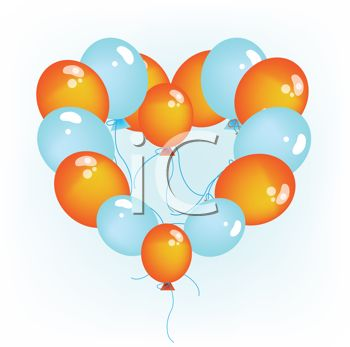 picture of a cluster of orange and blue balloons in a heart shape in a vector clip art illustration
