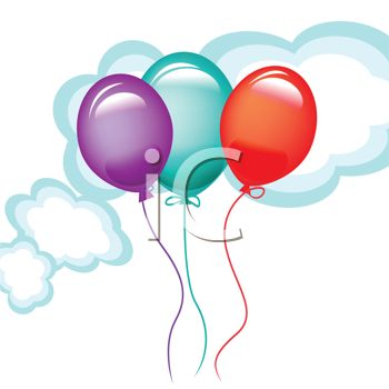 picture of 3 colorful balloons floating in the clouds in a vector clip art illustration